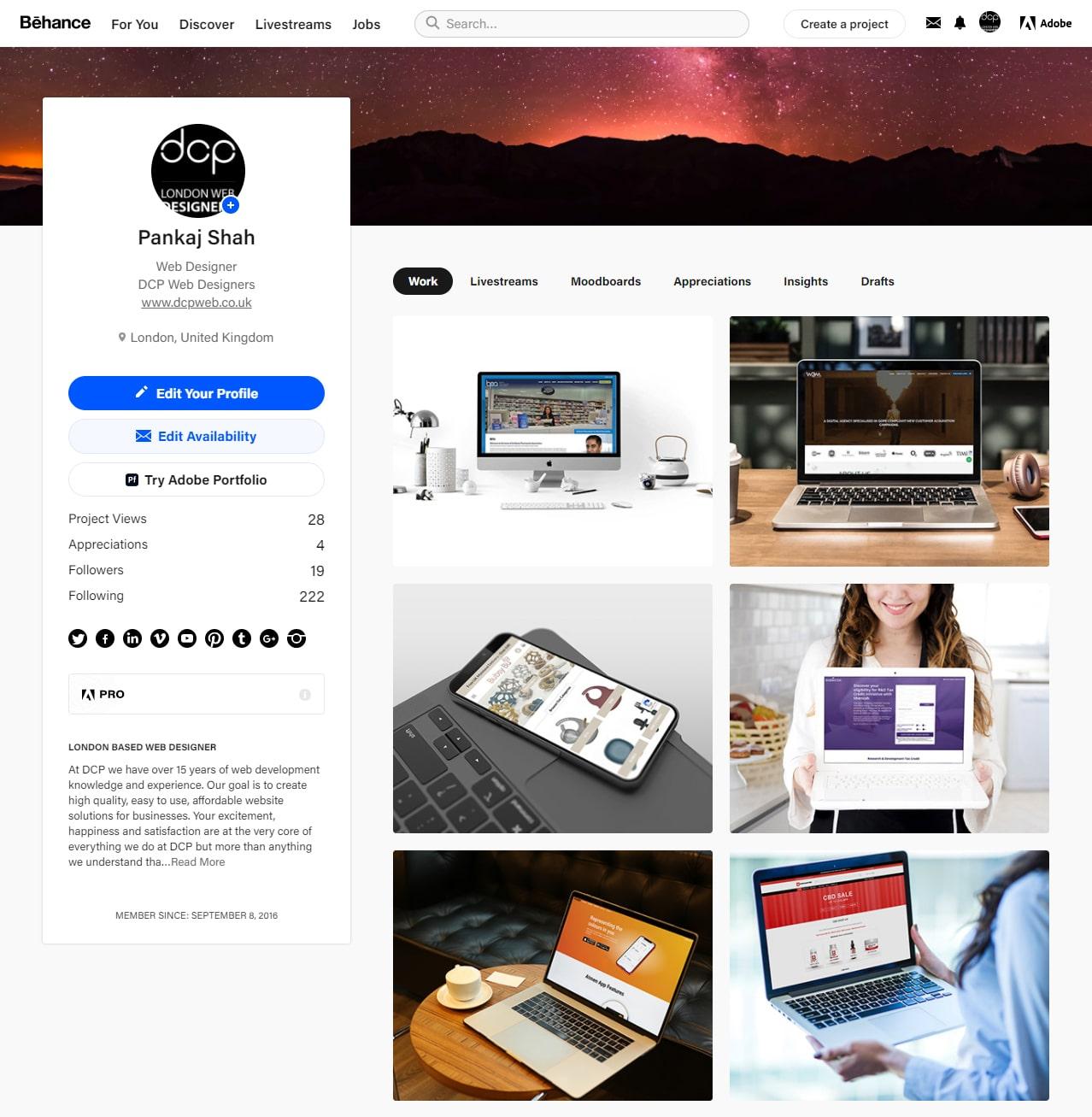 DCP Web Designers Behance Profile