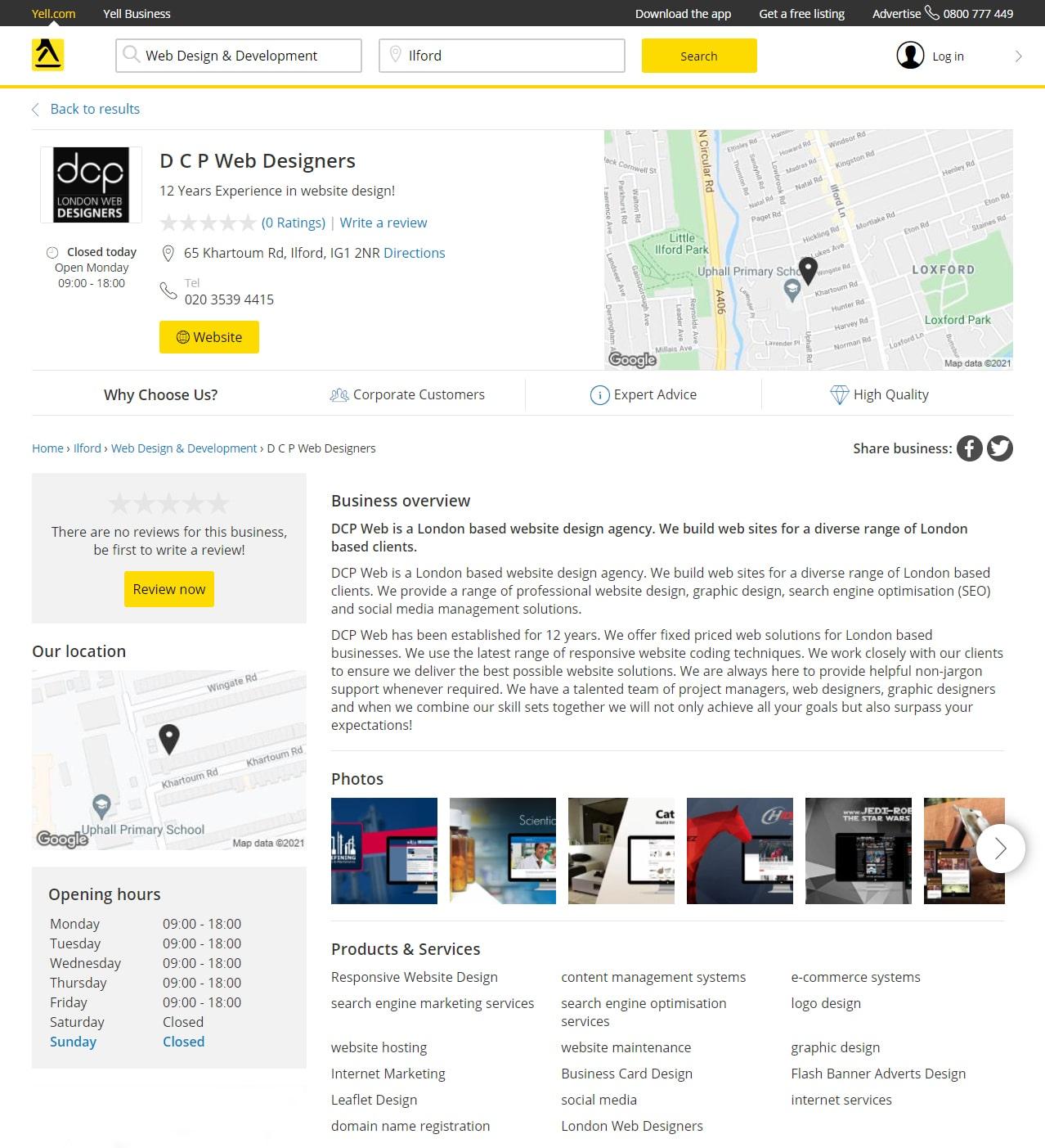 DCP Web Designers Yell Profile