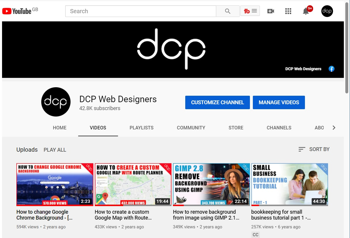 DCP Web Designers YouTube Channel