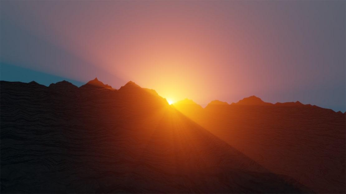 Blender example landscape render with sunlight