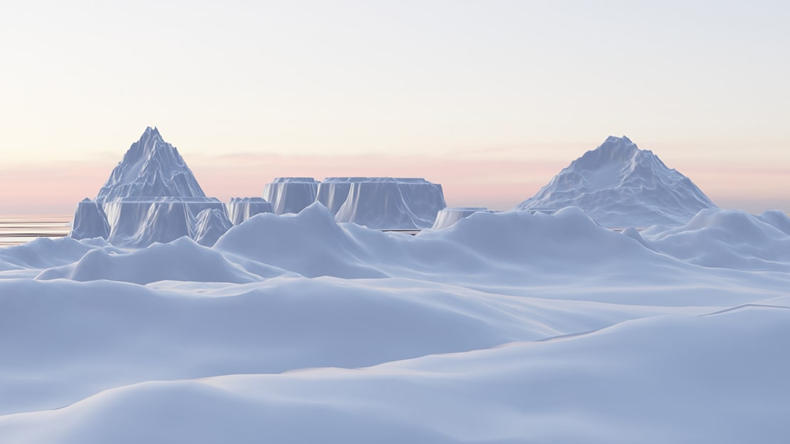 Blender example landscape render cold antarctic environment