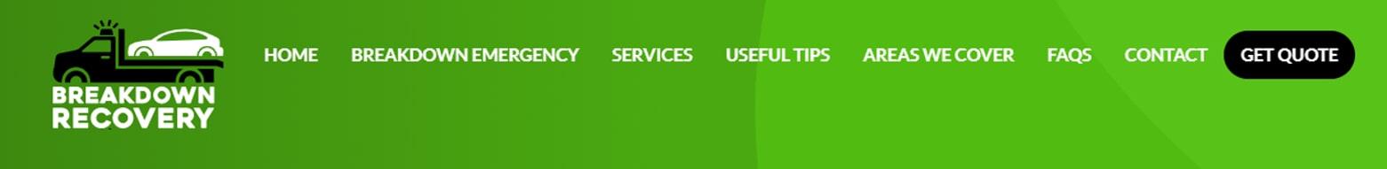 Example website top navigation