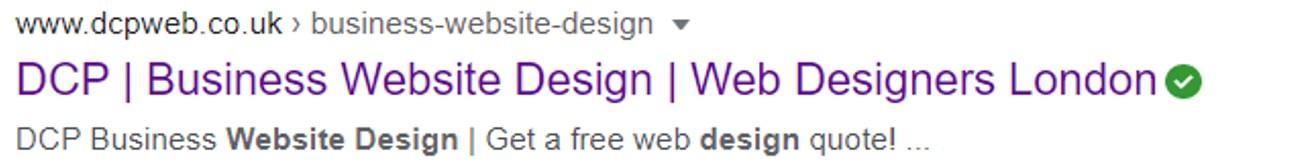 Google search result for website design service
