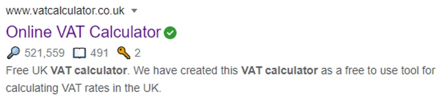 VAT calculator search result