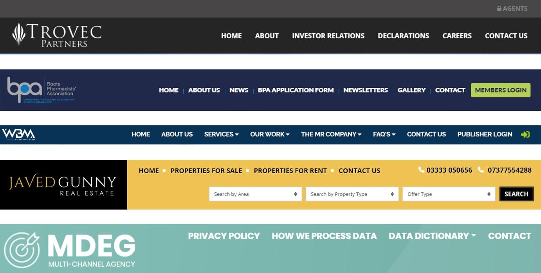 Website top navigation examples