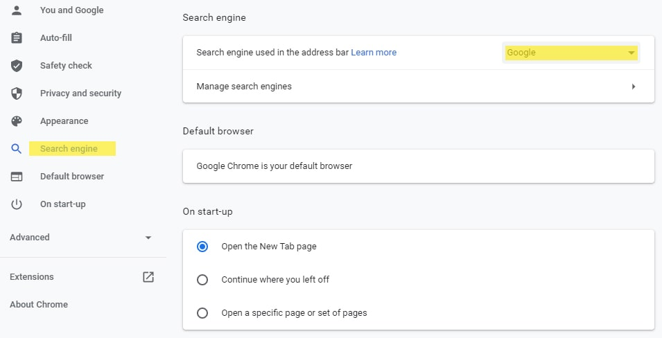 Set Google as search engine used in address bar