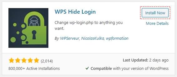 wps hide login wordpress install button