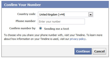 facebook confirm your number