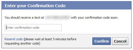 facebook confirm your number confirmation code