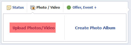 facebook select upload photo video