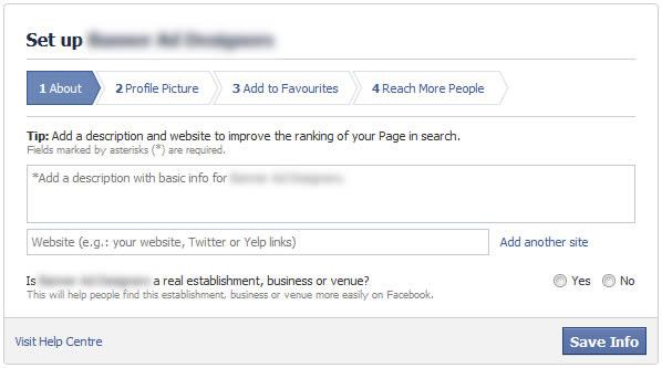 facebook set up about