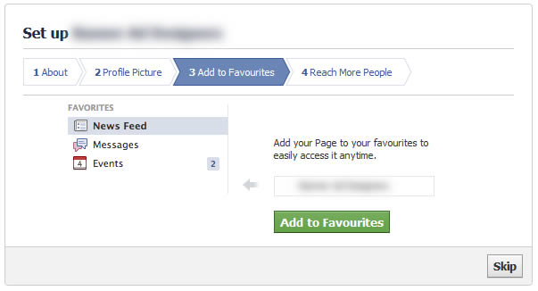 facebook set up add to favourites