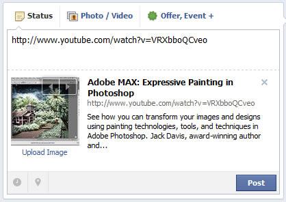 facebook youtube url paste