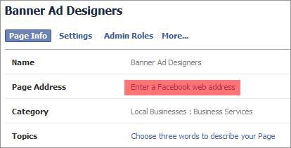 facebook create web address