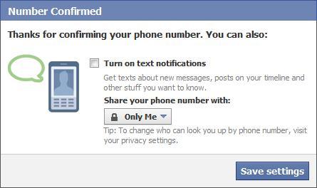 facebook number confirmed