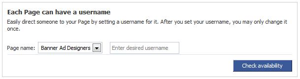 facebook username for page