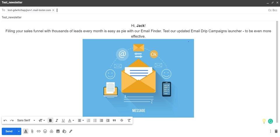 Sending testing emails