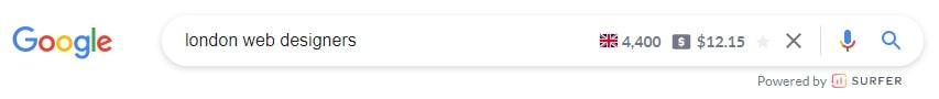 Keyword surfer stats Google search bar