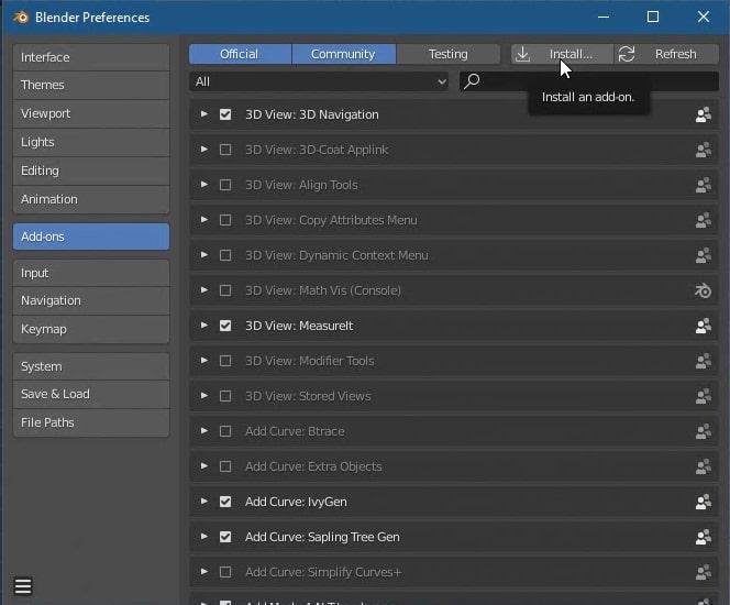 Blender edit menu preferences