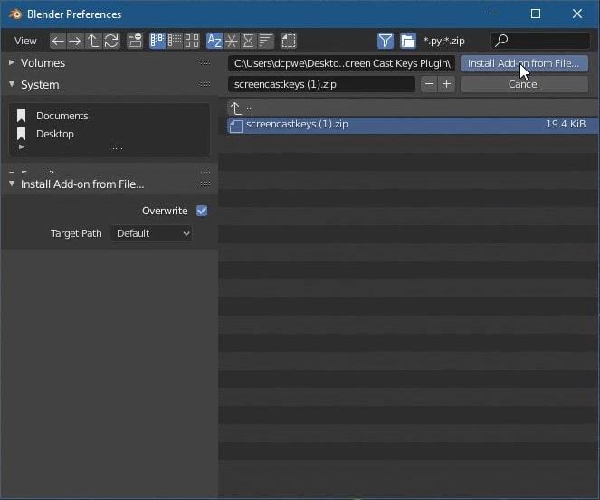Select downloaded screencast keys zip file