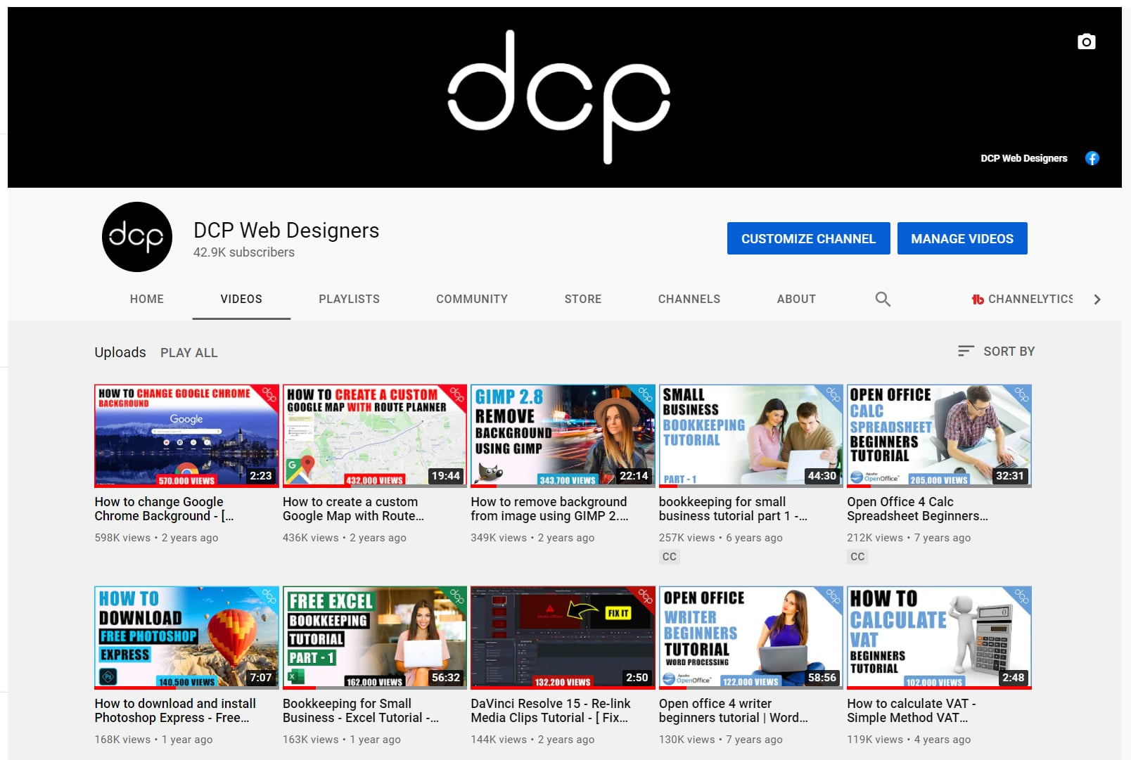 DCP YouTube Channel 42,000 Subscribers