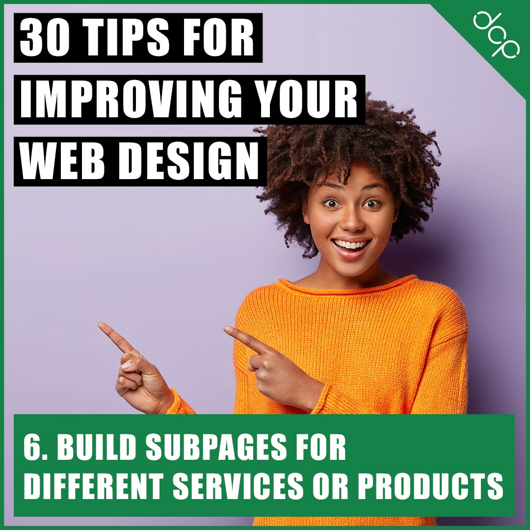 6. Build subpages for different services or products