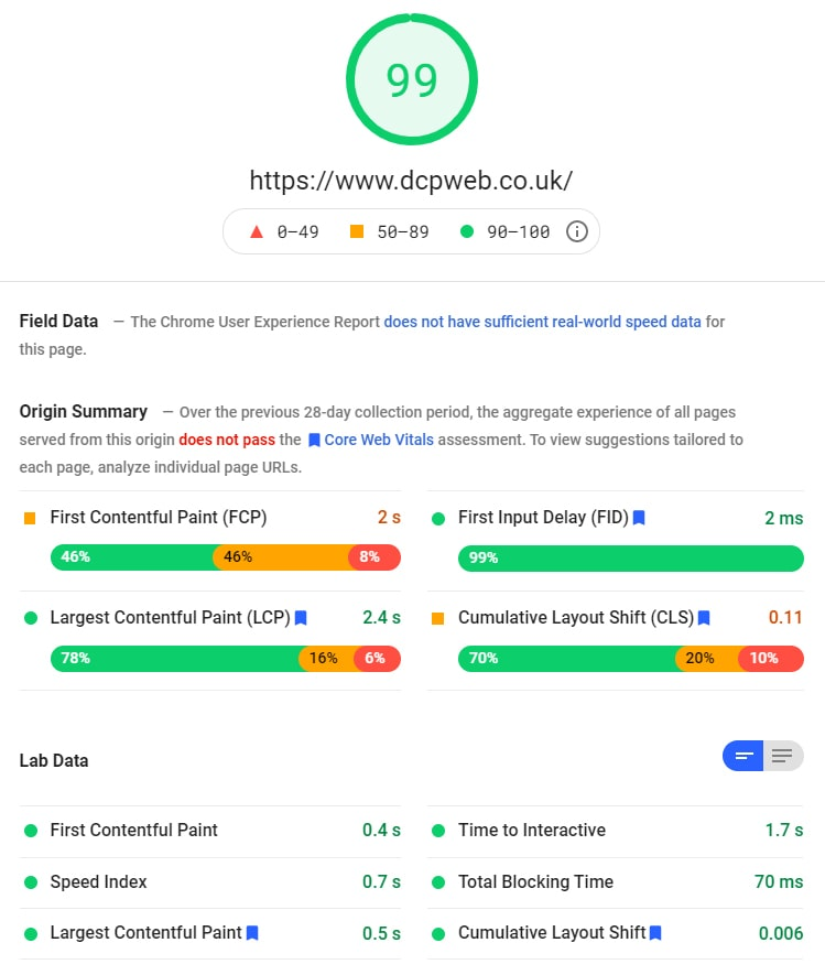 DCP home page google page speed test