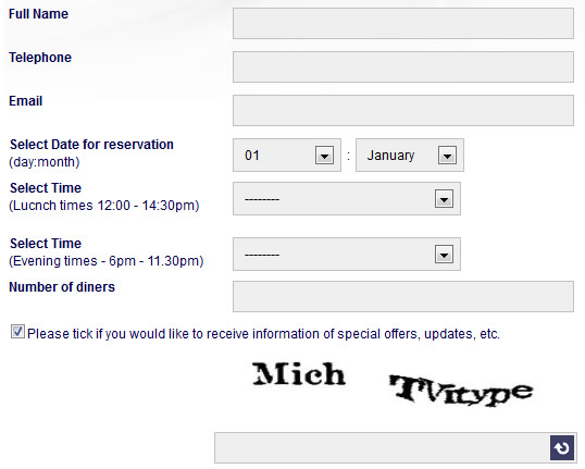 Example Booking Form