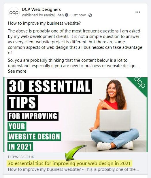 HTML Title Facebook Posts