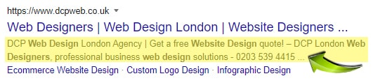 Example meta description displayed in Google search results