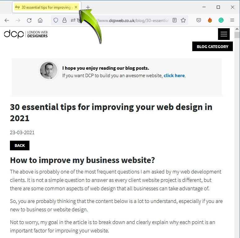 HTML Title Web Browser Tab