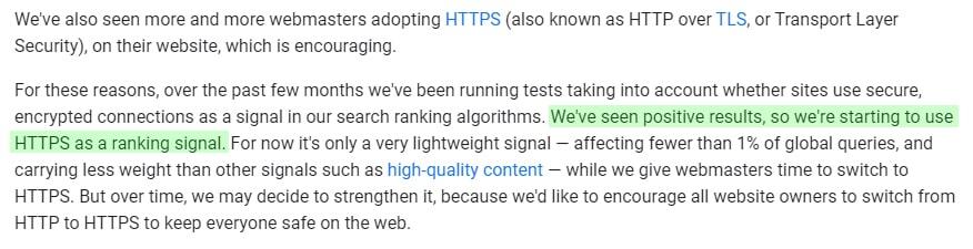 https Google ranking signal