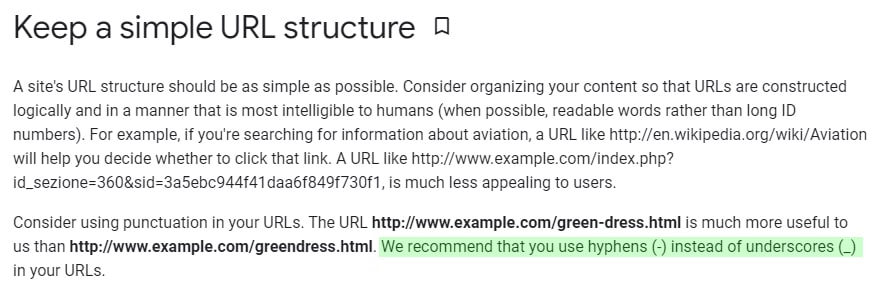 Use hyphens (-) instead of underscores (_) in your URLs