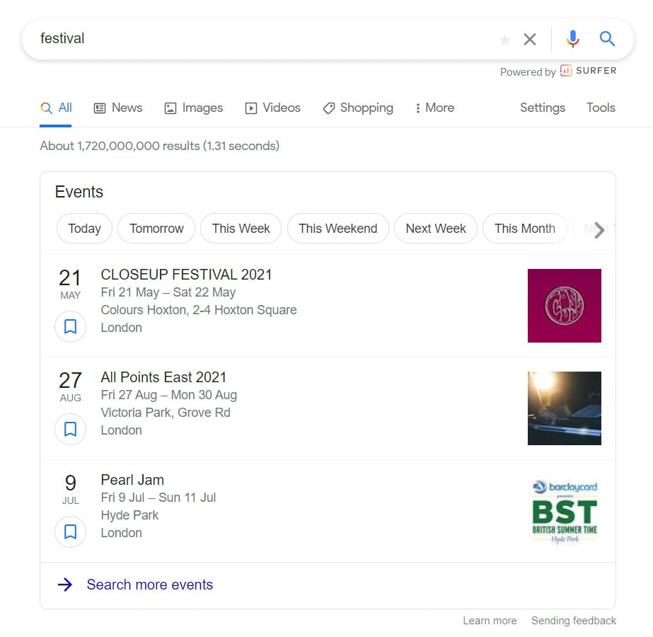 Example rich snippet for festival google search