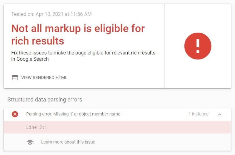 Google rich results test tool error reporting