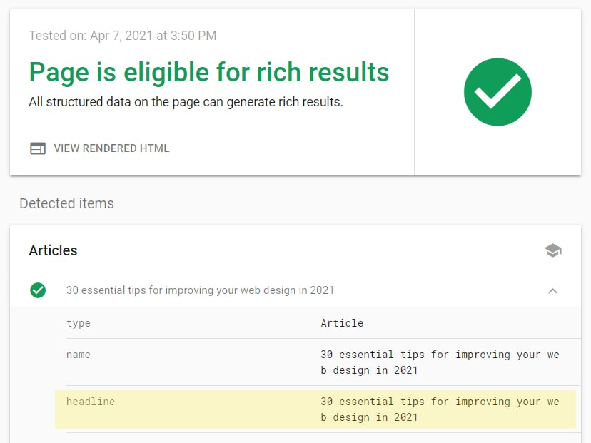 Google rich results test tool results with headline tag field