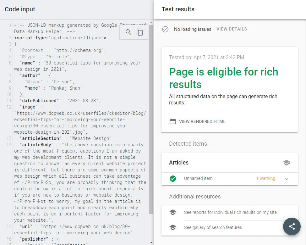 Google rich results test tool results