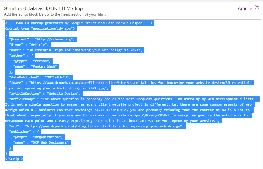 Google structured data markup JSON-LD format
