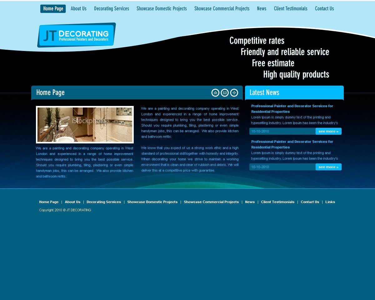 JT Decorators - Painting & Decorating Website Design