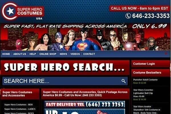 DCP completes new ecommerce website for Super Hero Costumes USA